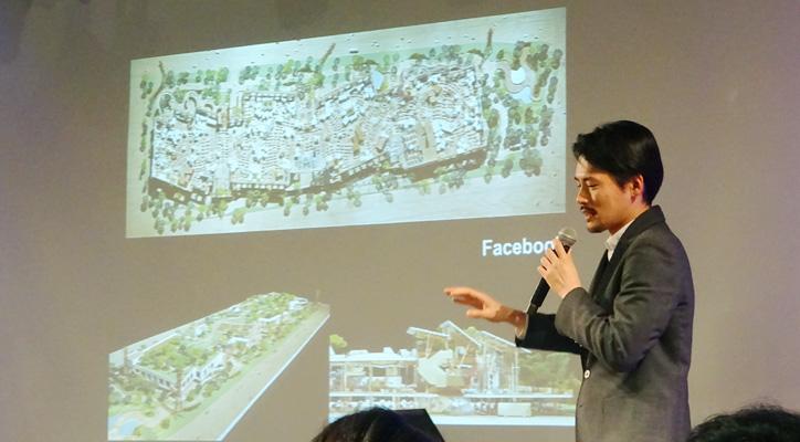 "◆ Facebook……新本社屋""MPK20""では全長400メートルのオフィスに2000人が入り乱れながら働いている。空間を隔てる壁がほとんどないので、思わぬ人との出会いから新しいものが生まれることを期待されている。"