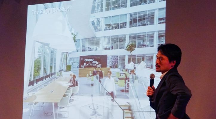 "◆ Deloitte(デロイト)……世界的会計監査事務所のオランダ本社。オフィスビル""The Edge""に2万8000個のセンサーが設置されており、従業員の動きを感知し、空間全体で出会いをコントロールすることが計画されている。すでに暖房、照明、購買などがアプリでコントロール可能で従業員の効率をあがるハイテクオフィス。"